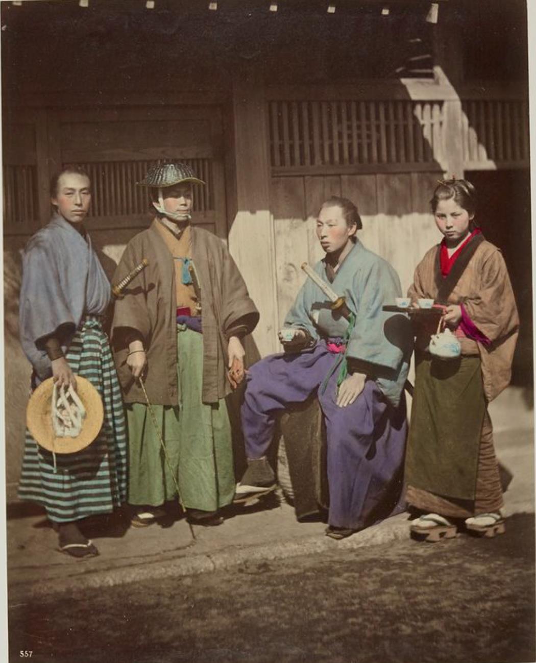 Три самурая и служанка