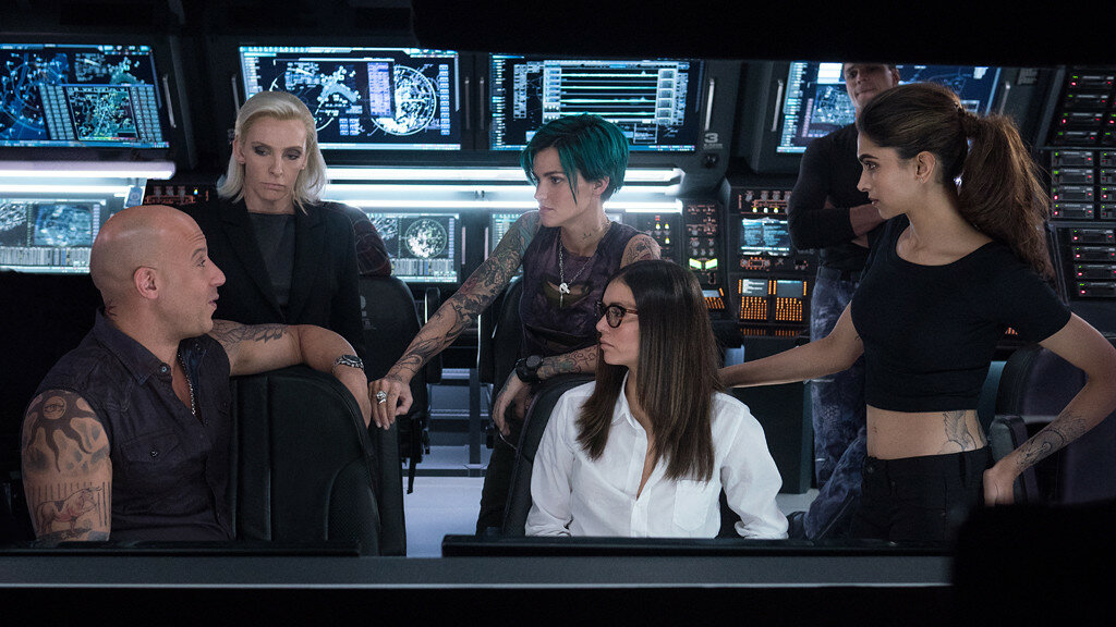 (L-R) Vin Diesel as Xander Cage, Toni Collette as Jane Marke, Ruby Rose as Adele Yusef, Nina Dobrev as Rebecca Clearidge, Deepika Padukone as Serena Unger, and Tony Gonzalez as Paul Donovan in xXx: RETURN OF XANDER CAGE by Paramount Pictures and Revolutio