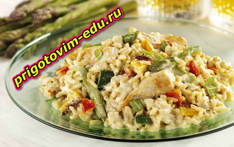 Рецепт салата  из риса с индейкой