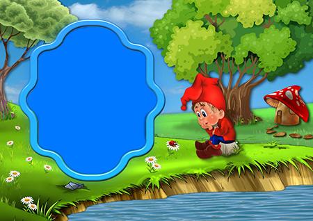 Фоторамка для детей с гномом в лесу у реки
