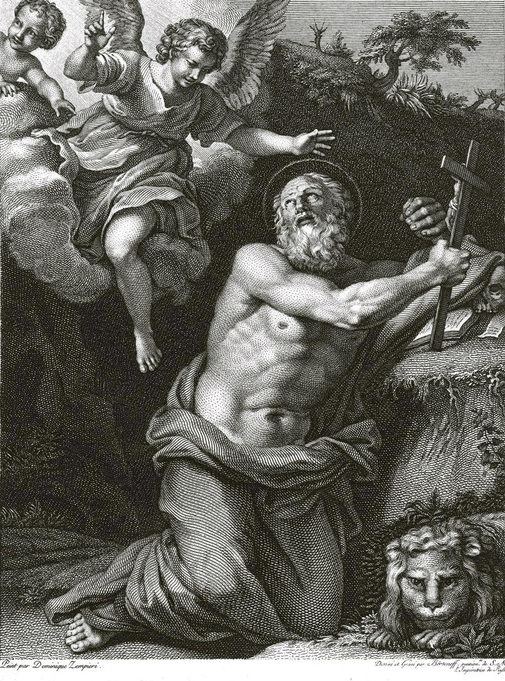 122. Св. Иероним, с картины Доминикино, работы Берсенева
