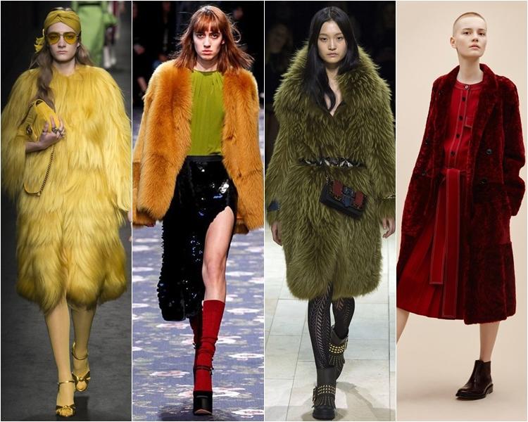 цветные шубы, мода осень-зима 2016-2017