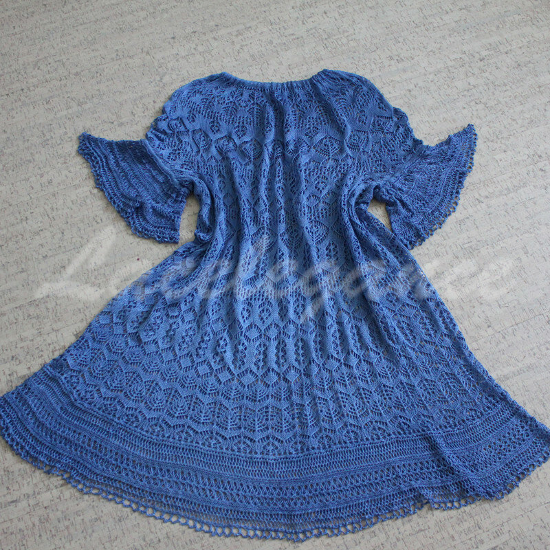 Lacelegance. Blue dress. Silk dress. Knitted dress.