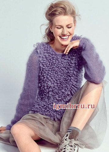 Теплый сиреневый пуловер с меховым узором. Вязание спицами