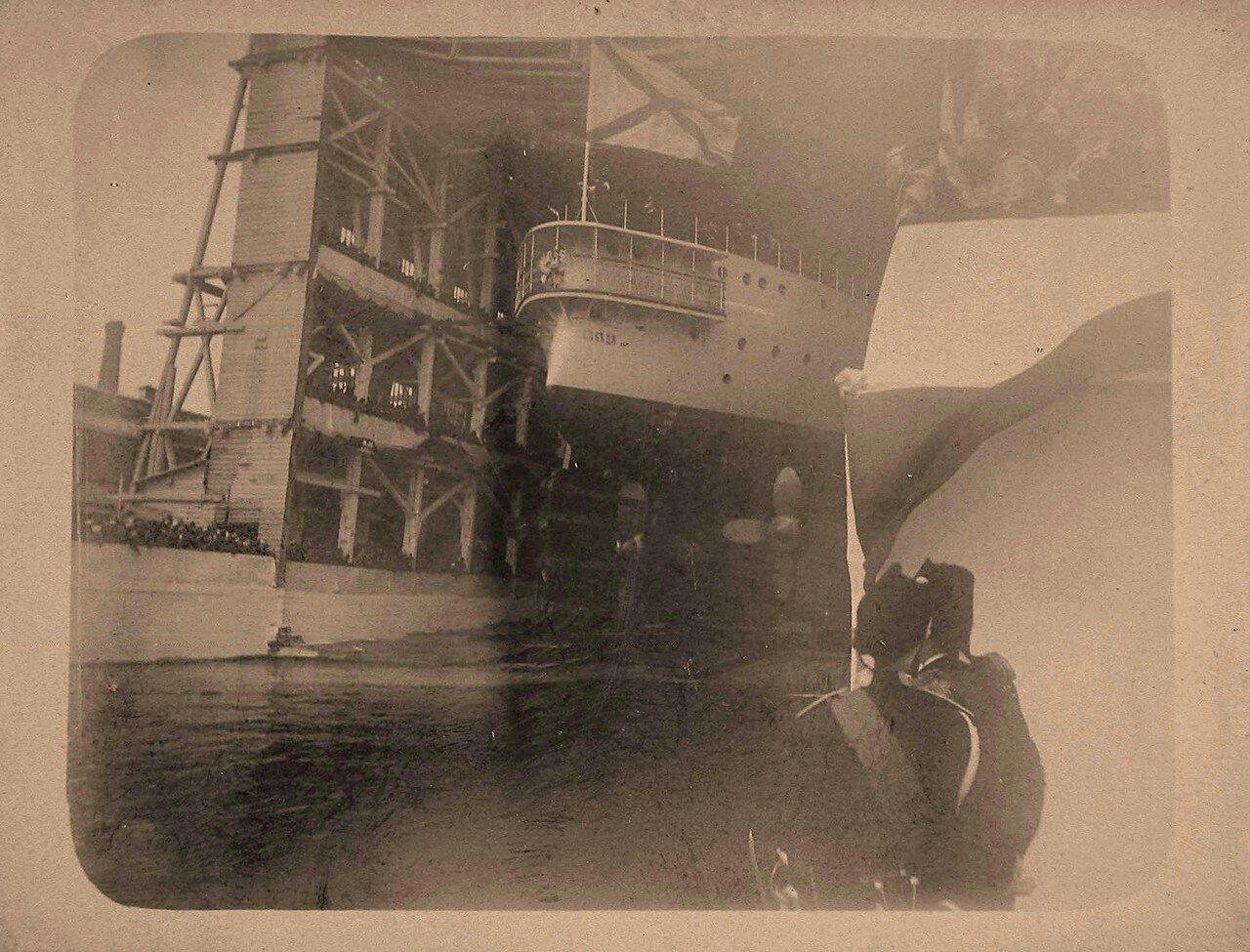 04. Эскадренный броненосец Победа сходит со стапелей Балтийского судостроительного завода