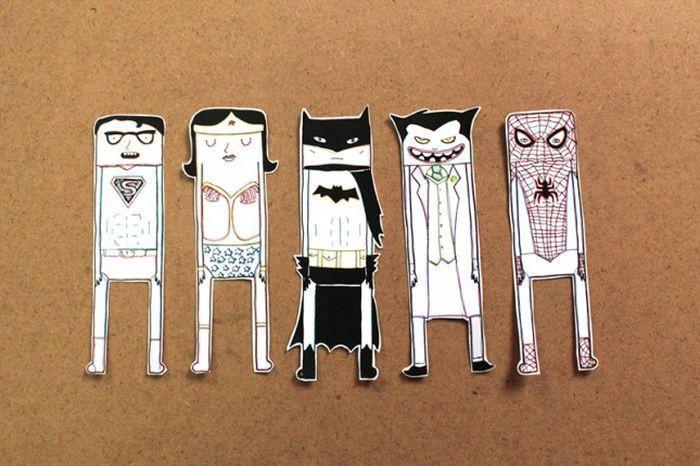 8. Закладки-супергерои Если вы найдете парочку магнитиков, то вполне сможете сделать этих забавных ч