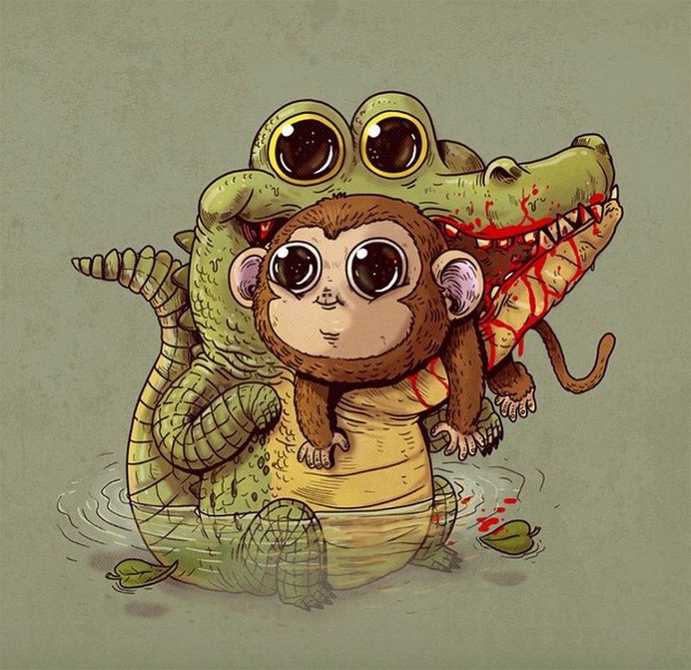 Волнительно-очаровательные карикатуры от Алекса Солиса, показывающие жестокость устройства природы
