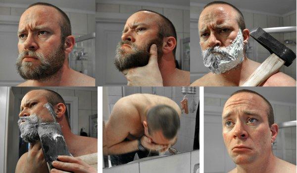 Суровый мужчина до и после бритья.
