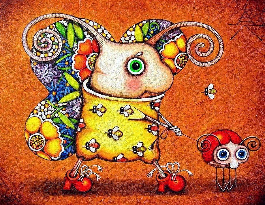 Алёна Крутоголова. Добрые, наивные картины.