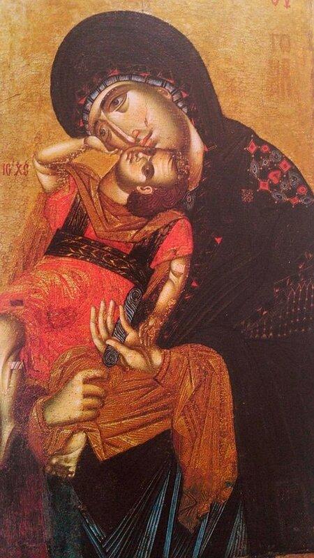 """Икона Божией Матери """"Пелагонитисса"""" (""""Взыграние Младенца"""")."""