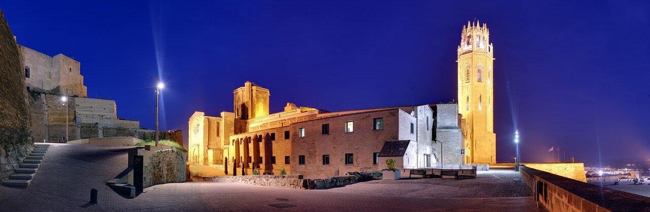 Ночная Лерида. Собор Сеу Велья, вид из крепости Де ла Суда