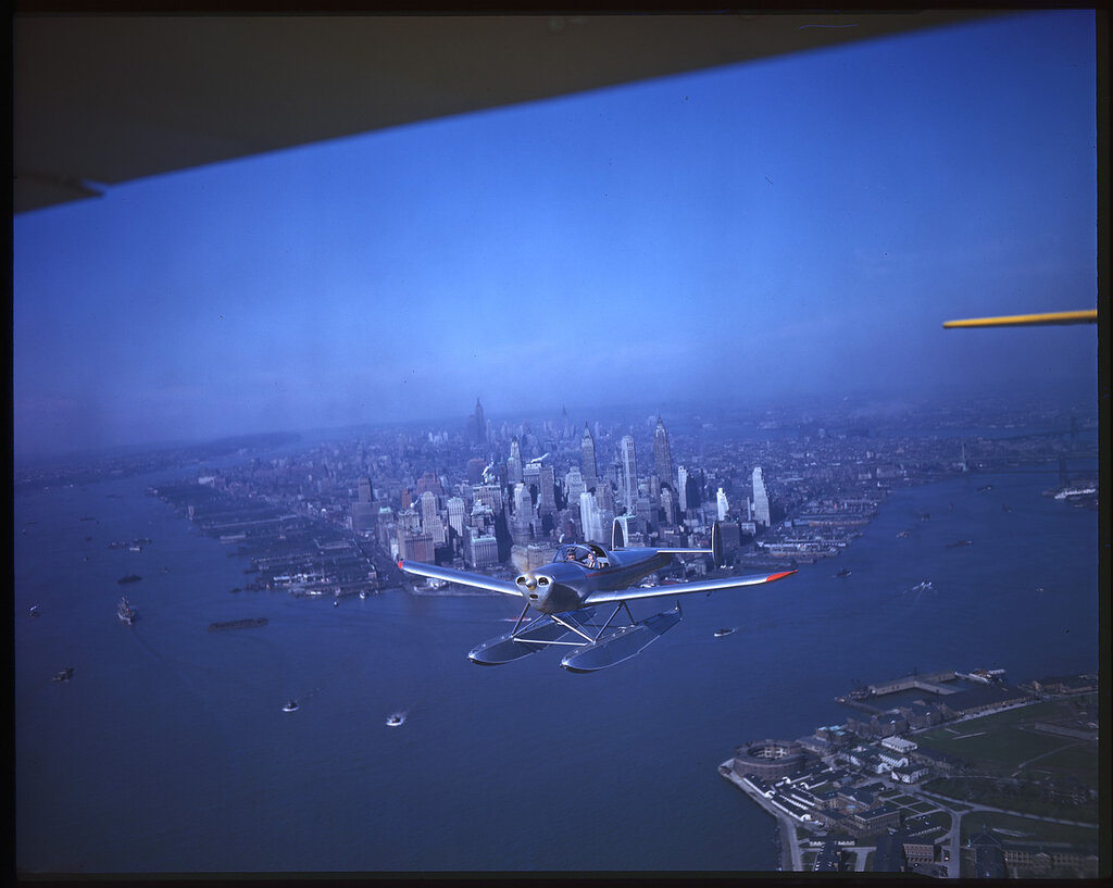 Erco 415C Ercoupe (rn NC86951) in flight over the Hudson River with Manhattan Island