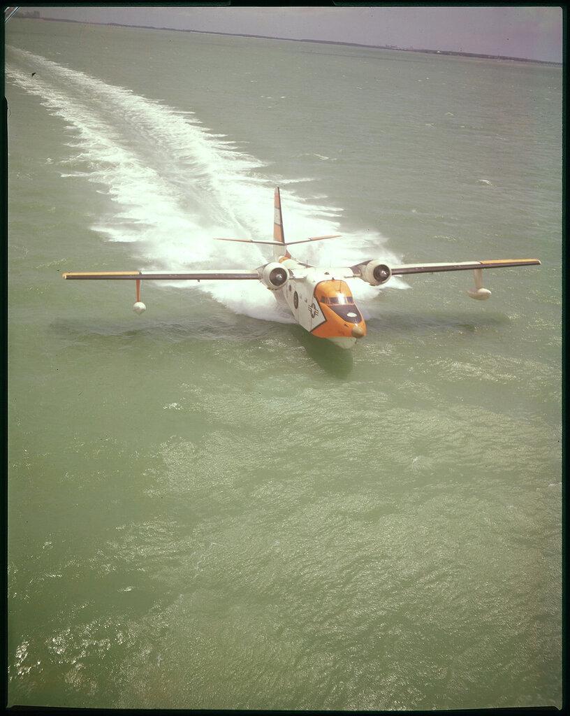Grumman UF-2G (HU-16E) Albatross (USCG) is taxiing on the water