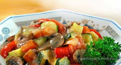 Тушеные овощи в кисло-сладком соусе