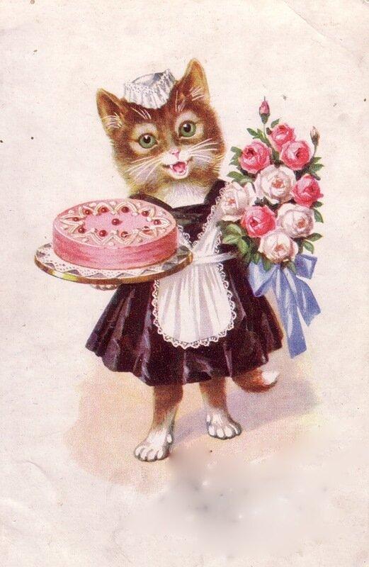 Открытки с днем рождения девушка-кошка, цыпленок для