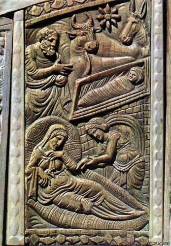 Рождество Христово. Плакетка из слоновой кости. Деталь трон Максимиана 546–556 гг