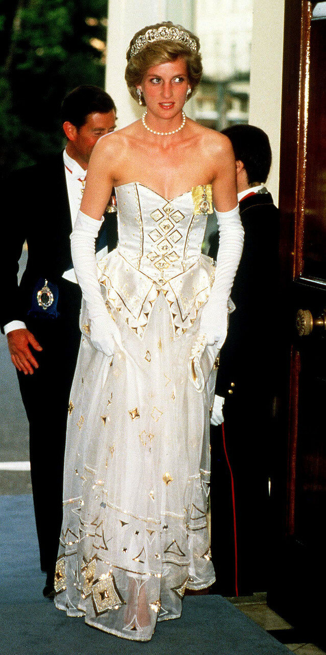 Она одела платье на английском