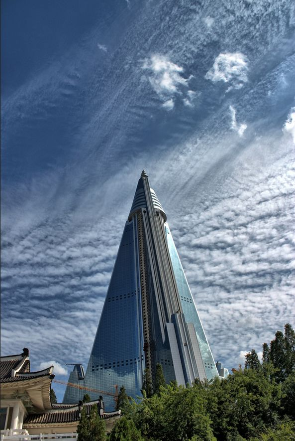 The Ryugyong Hotel Pyongyang North Korea in HDR
