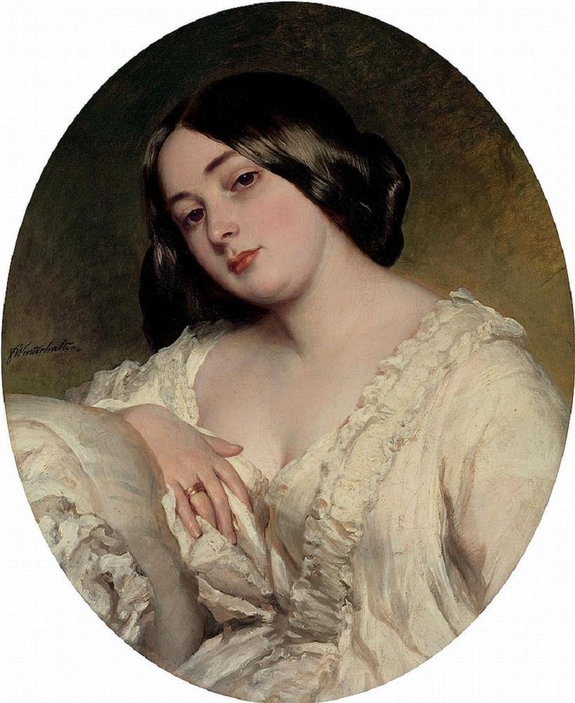 Franz Xavier Winterhalter (Mezenschwand 1805-1873 Frankfurt am Main)Portrait of a lady signed 'FWinterhalter'