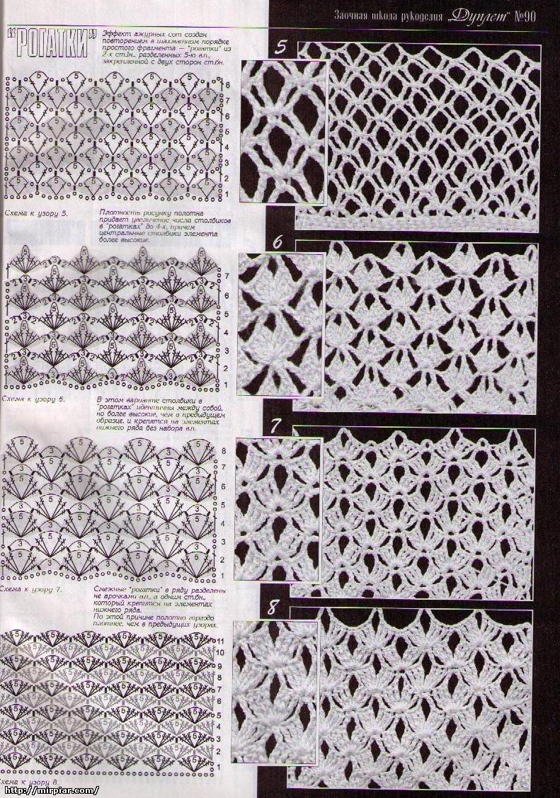 Сетка крючком - схемы вязания сеток.