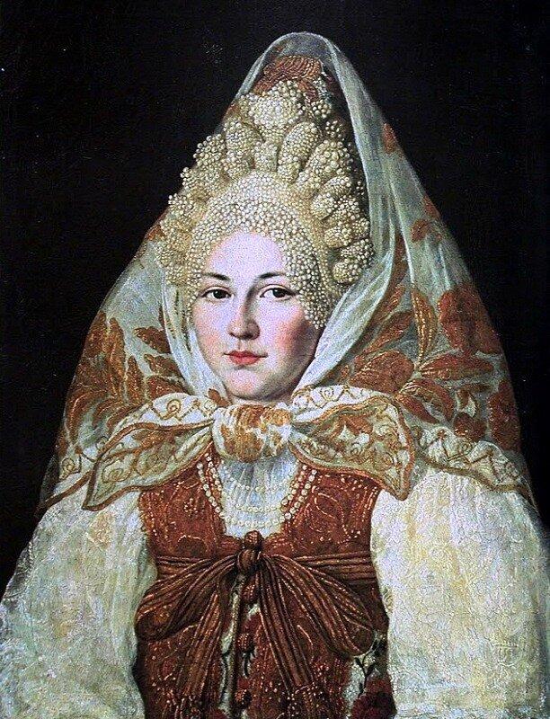 Абрам Клюквин (1777-1867) Женщина в торопецком жемчужном кокошнике и платке