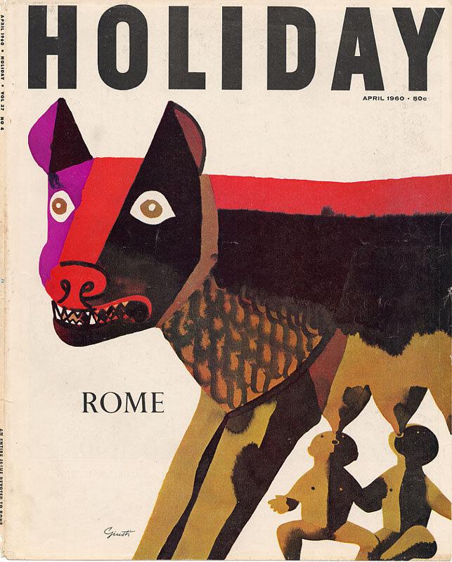 Holiday Magazine.Rome, April 1960. Illustration: George Giusti