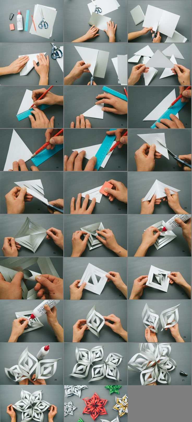 схема изготовления объемных снежинок и бумаги