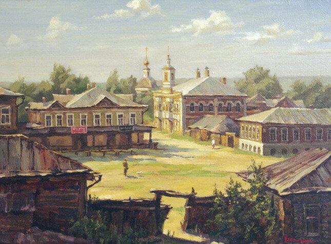 2003г. х.м. 32=43,5 Реконструкция старого Дмитрова с использованием старинных фотографий.