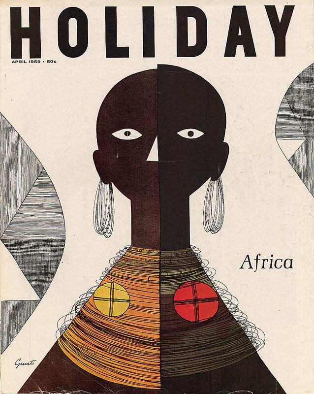 Holiday Magazine.Africa, April 1959. Illustration: George Giusti