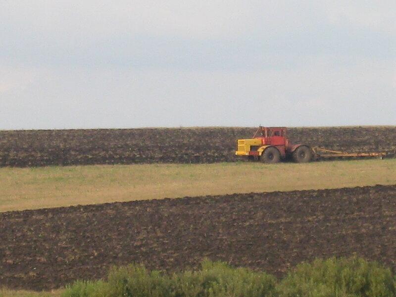 Трактор распахивает поле