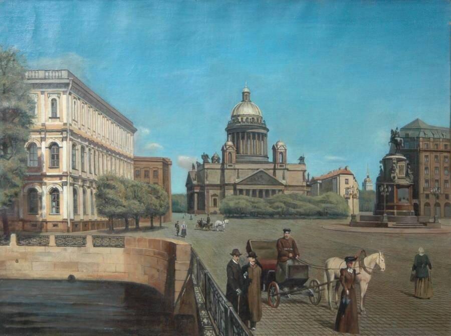 Неизвестный художник. Вид на Исаакиевский Собор, конец19 века.