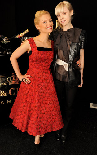LONDON, ENGLAND - DECEMBER 08: Presenters MyAnna Buring (L) and Antonia Campbell-Hughes pose backstage at the Moet British Independent Film Awards 2013 at Old Billingsgate Market on December 8, 2013 in London, England. (Photo by David M. Benett/Getty Im