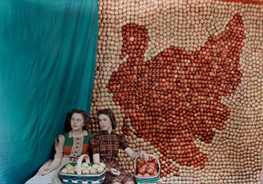 Two girls sit in front of an apple display in the shape of a turkey in West Virginia, 1939.jpg