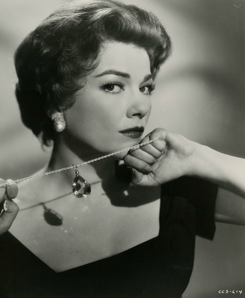 "Anne Baxter in a publicity photograph for ""Chase a Crooked Shadow"" (1958).jpg"
