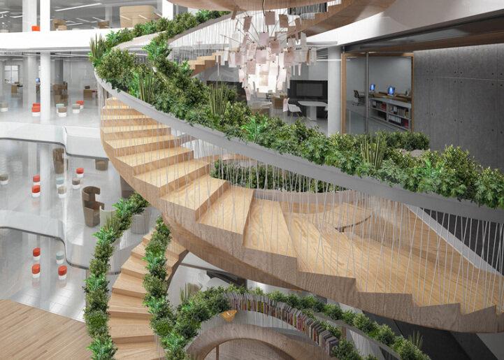 Спиральная лестница в зеленом оформлении