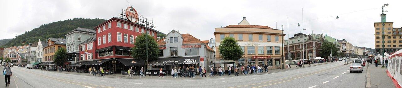 Берген, улица Торгет. Bergen, Torget , panorama