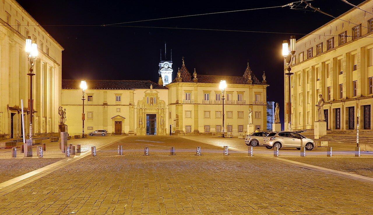Ночная Коимбра. Университет. Ворота Ферриа (Porta Férrea)