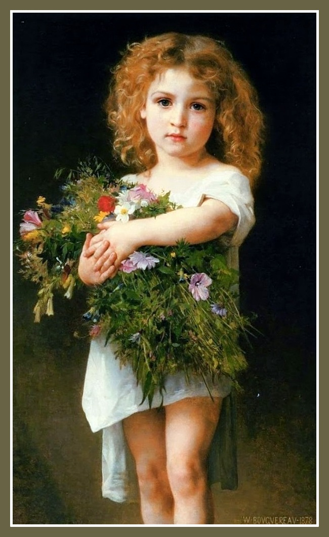 William-Adolphe Bouguereau (1825-1905) Enfant Tenant des Fleurs