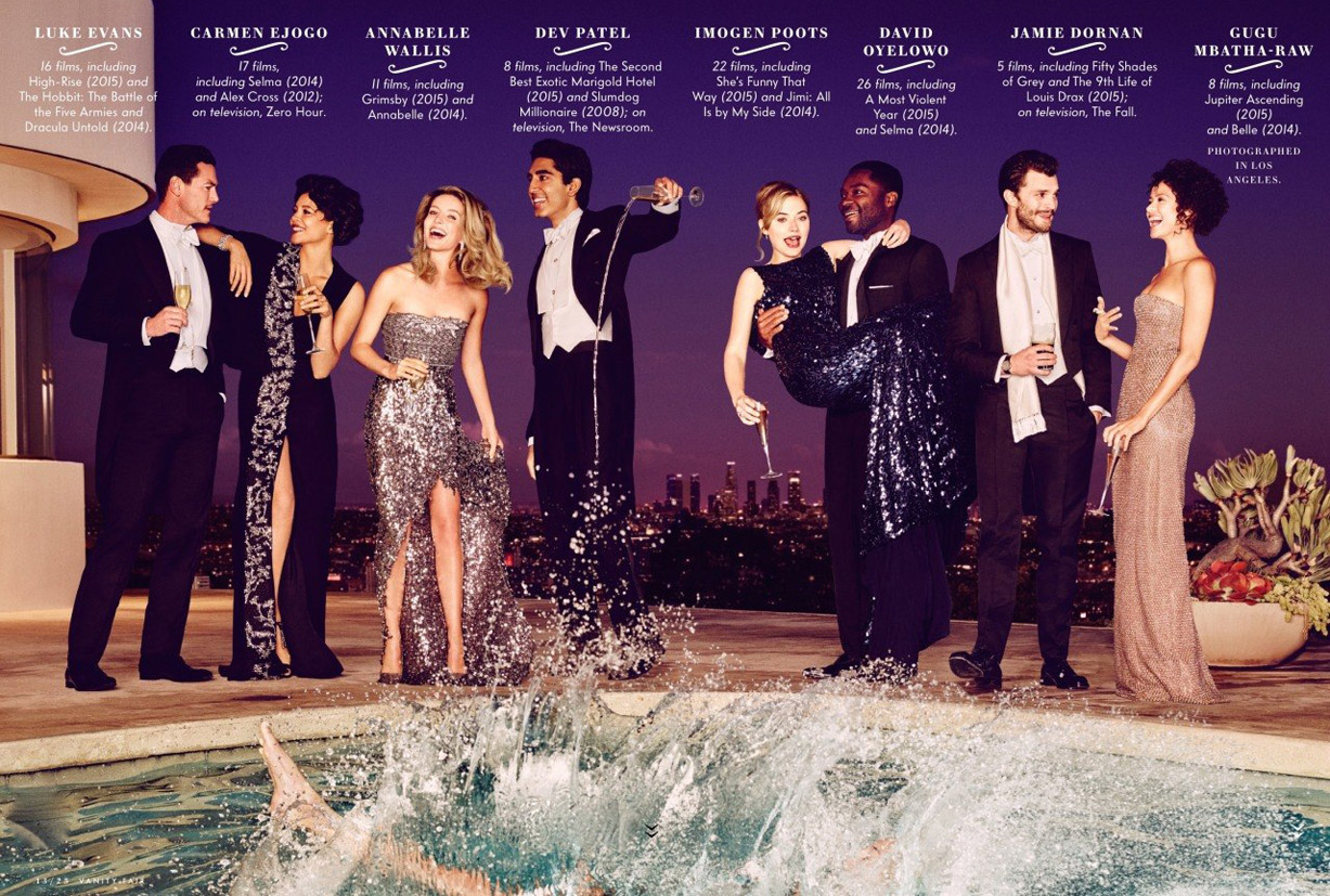 Лучшие британские актеры в проекте The 2015 Hollywood Portfolio by Jason Bell in Vanity Fair march 2015 - Luke Evans, Carmen Ejogo, Annabelle Wallis, Dev Patel, Imogen Poots, David Oyelowo, Jamie Dornan, Gugu Mbatha-Raw