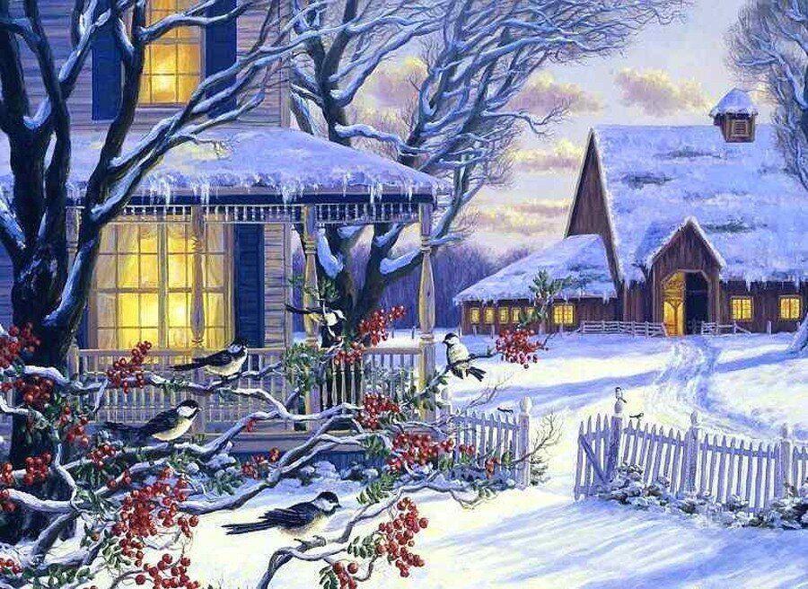 Картинки сказочная зима домик