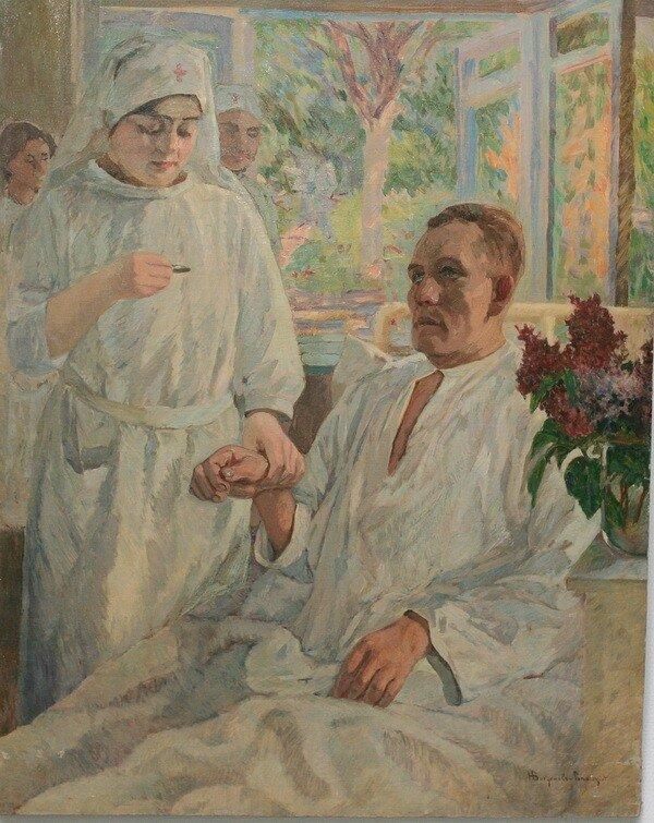 """Николай Петрович Богданов-Бельский (1868-1945 гг). """"В больнице"""". 1910."""
