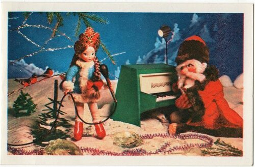 Дед Мороз играет на рояле а Снегурочка поет. С Новым годом! открытка поздравление картинка