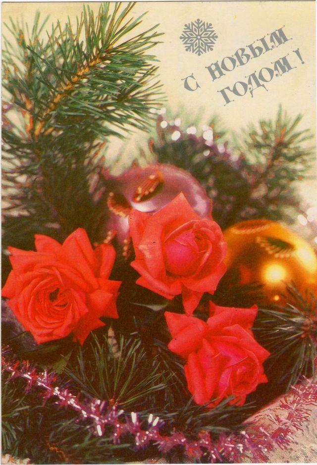 Цветы, игрушки, сосенка. С Новым годом!
