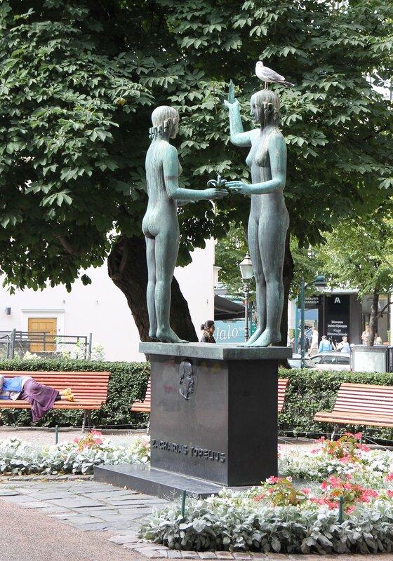 Helsinki. Esplanade. Monument 'Tale and Truth' (Taru ja Totuus)