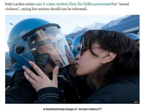 Целовать копа в шлем — это сексуальное домогательство