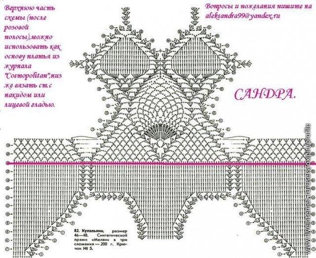 Схема лифа (3). Вязала точно по схеме столбиками с двумя накидами.