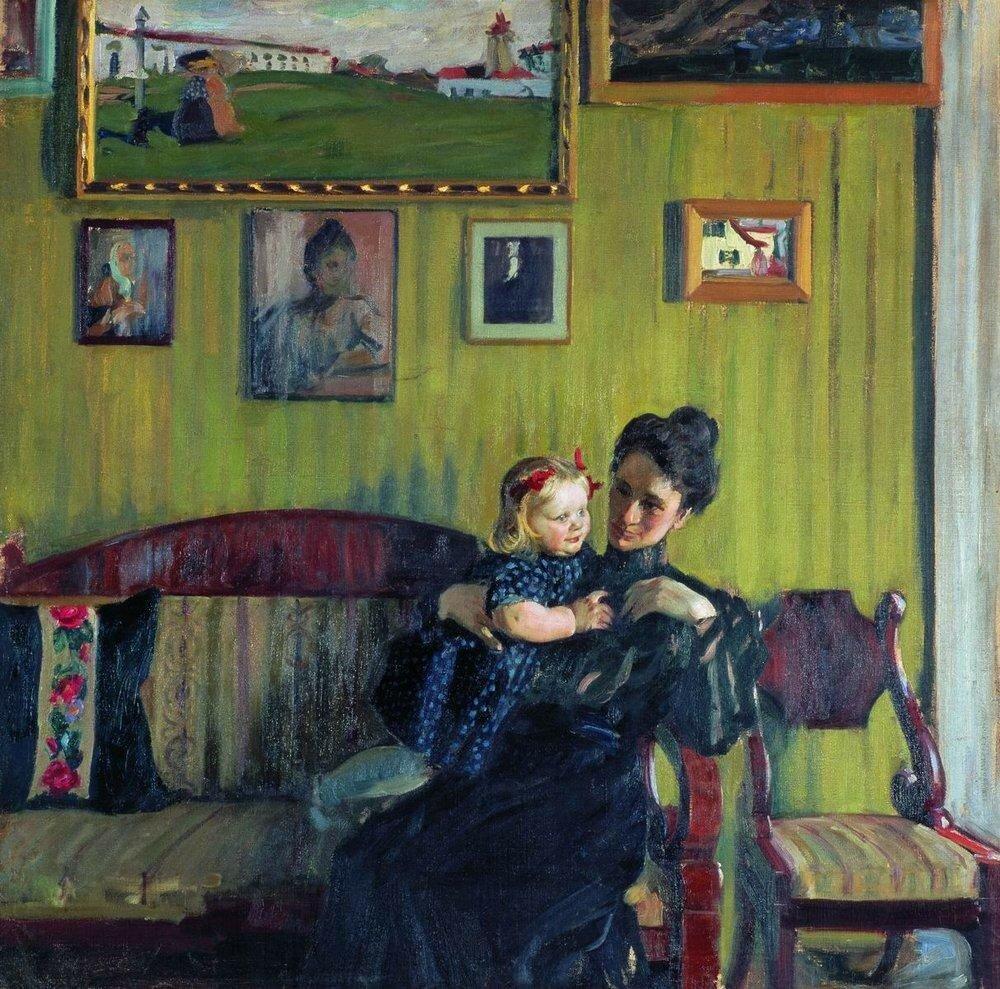 Портрет Ю.Е.Кустодиевой с дочерью Ириной. 1908.jpg