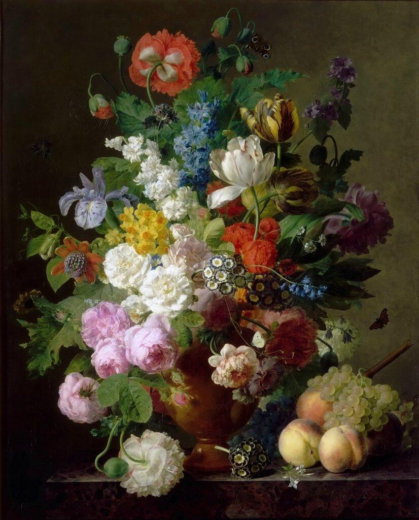 Даль, Ян Франс ван (1764 Антверпен - 1840 Париж) -- Ваза с цветами, персики и виноград