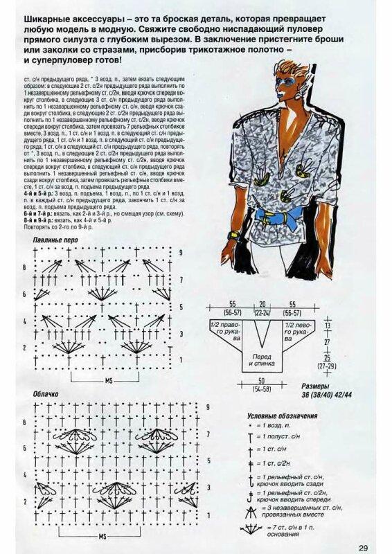 Схема узора спицами павлинье перо схема