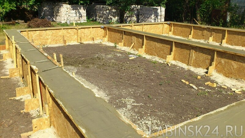 Фундамент в опалубке для строительства каркасного дома